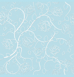 lace seamless pattern with roses on blue vector image