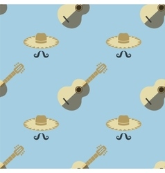 Mexican Guitar Seamless Pattern vector image