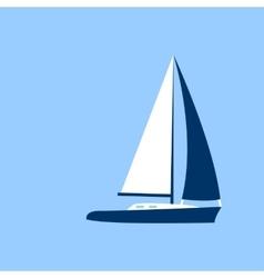 Sail Yacht Boat Flat Icon vector image