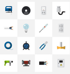 set of 16 editable electrical flat icons includes vector image vector image