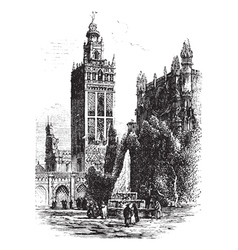 Seville Cathedral Vintage Engraving vector image vector image