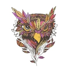 Abstract colored owl print vector image vector image