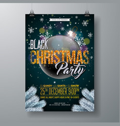 black christmas party flyer with vector image vector image