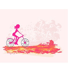 Cycling Grunge Poster with silhouette Girl vector image