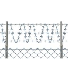 Highly detailed prison or refugee camp fence vector image vector image