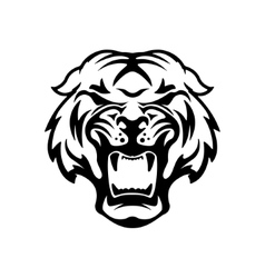 Monochrome angry tiger icon isolated on white vector image vector image