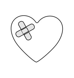 monochrome silhouette of heart with adhesive vector image vector image