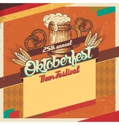 Oktoberfest beer festival vintage card vector image vector image