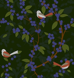 Seamless pattern of Blackthorn berries and birds vector image vector image