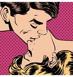 man woman kiss love relationship romance vector image vector image