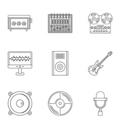 music equipment icon set outline style vector image vector image