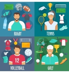 Rugby tennis volleyball golf sport icons vector image