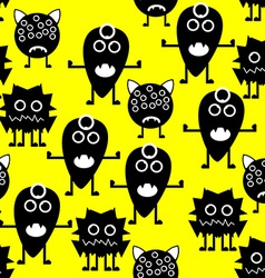 Seamless Pattern White and Black Monsters on vector image