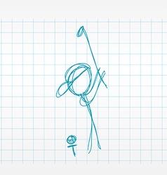 Sketch line drawing golfer vector image