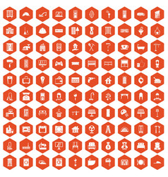 100 comfortable house icons hexagon orange vector