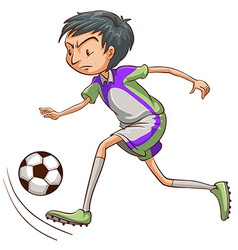 A soccer player catching the ball vector image