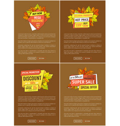advertisement poster with maple leaves autumn fall vector image