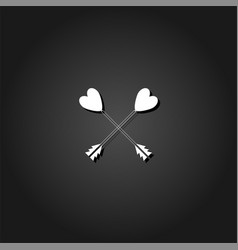 arrow with heart icon flat vector image