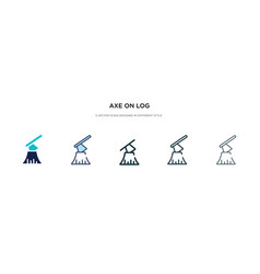 Axe on log icon in different style two colored vector