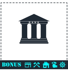 Bank icon flat vector
