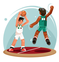 Basketball players ball throw attack protection vector