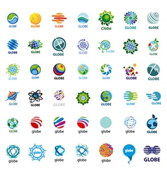 Biggest collection logos globe vector