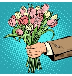 Bouquet tulips flowers gift vector