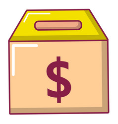 box money icon cartoon style vector image