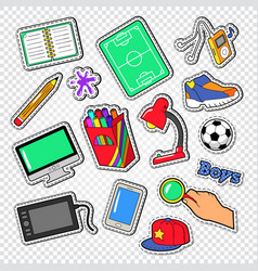 boys doodle with football computer and telephone vector image