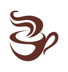 Brown and white coffee or tea icon vector image