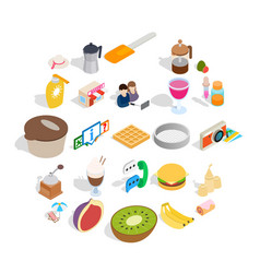Brunch icons set isometric style vector
