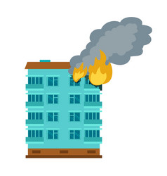 Burning city building icon flat style vector