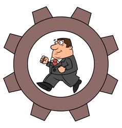 Businessman in cogwheel machine vector image