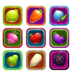Cartoon app icons with fruits and vegetables vector image