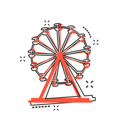 cartoon ferris wheel icon in comic style carousel vector image