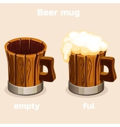 Cartoon old wooden beer tankard in vector image