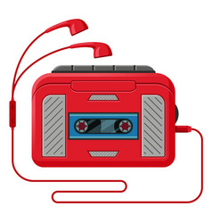 cassette player with headphones flat vector image