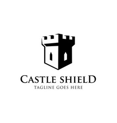 castle shield logo concept creative minimal vector image