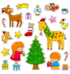 christmas cartoon collection vector image