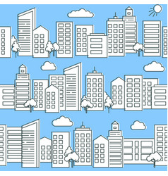 City street seamless pattern in flat style vector
