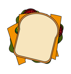 Color image cartoon top view closeup bread vector