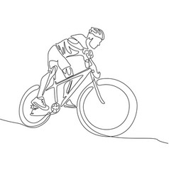 continuous one line cyclist in a helmet riding vector image