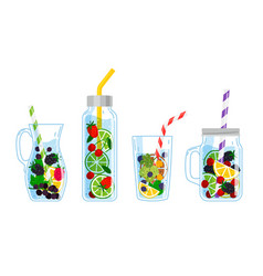 cooling drinks with fruits vector image
