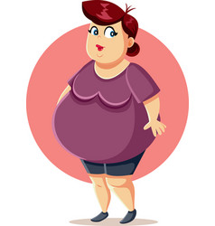 Curvy plus size overweight woman cartoon vector