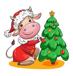 Cute cartoon cow is decorating christmas tree vector