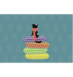 cute cat in a scarf sitting on pillows vector image