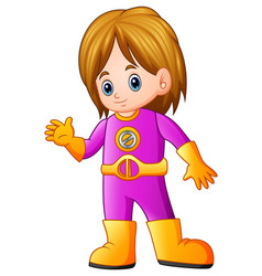 cute girl cartoon in superhero costume waving vector image