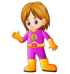 Cute girl cartoon in superhero costume waving vector