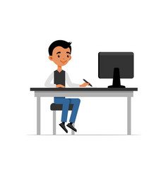 Cute young guy sitting at desk and working on vector