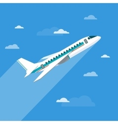 Detailed flying airplane with clouds vector image